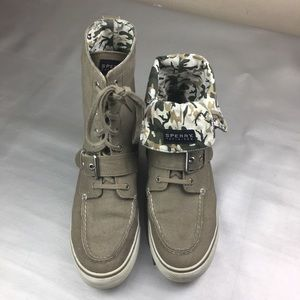 Sperry Top Sider high top fold over Camo sneakers